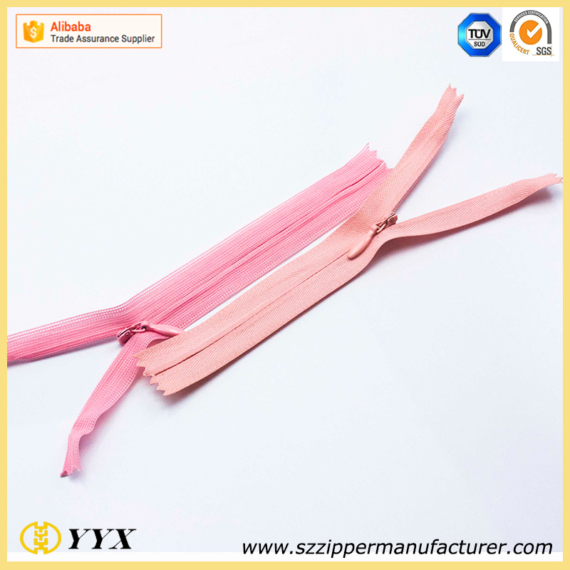 #3 invisible close end zipper with drop shape slider