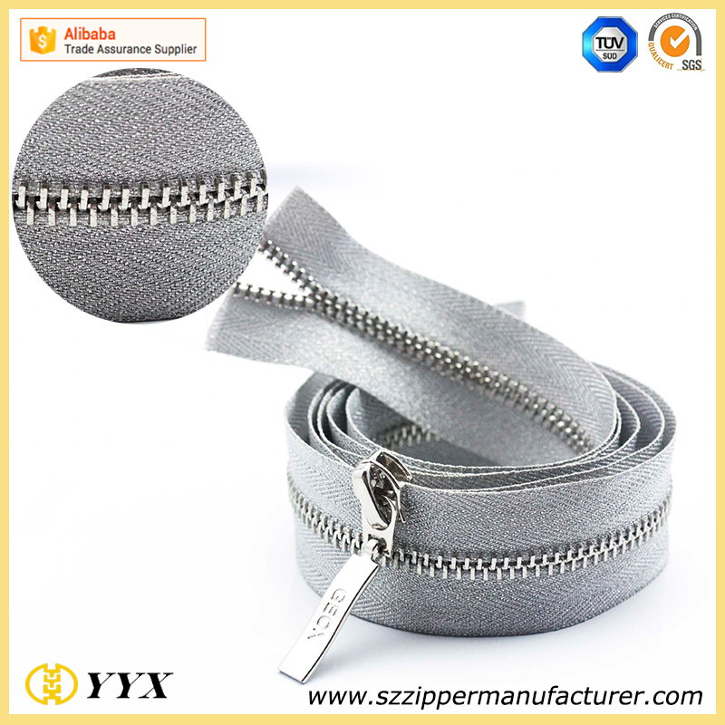 5# long chain metal zipper for wholesale & gold metal zipper