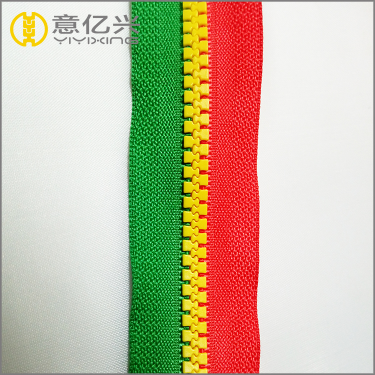 long chain coating fashion teeth colorful plastic resin zipper