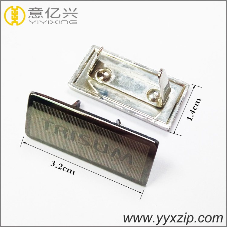 Fashional promotional laser Logo metal purse tag rolling antique silver color lo
