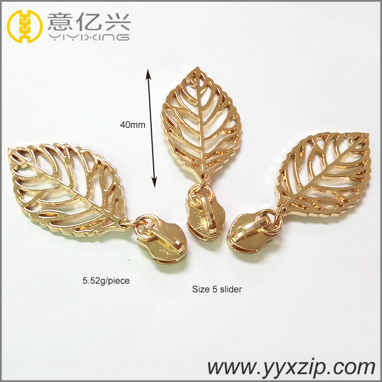 hot selling customized shiny gold hollow leaves logo metal zipper slider and pul