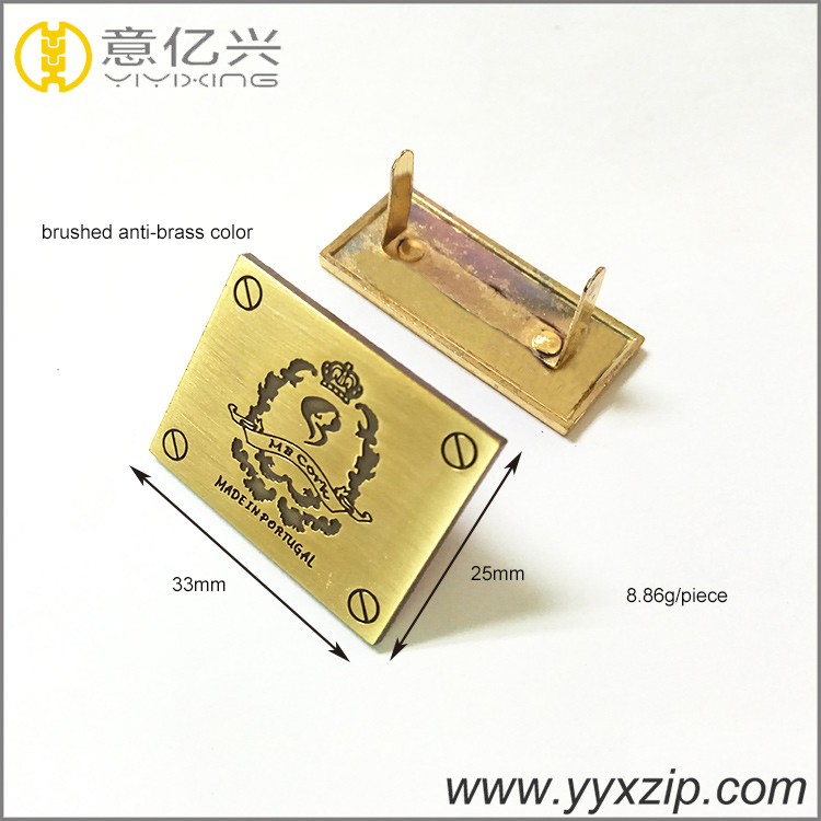 Fashion Zinc Alloy Engraved Customized Brushed Auti-brass Logo Tag Metal Plate F