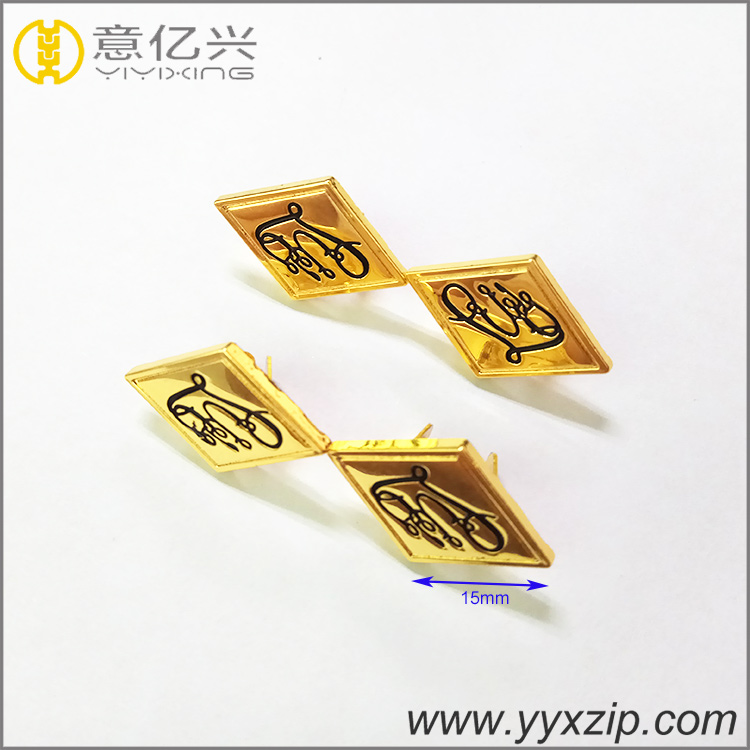 High Quality Rectangle Shiny Gold Engraved Brand Small Metal Logo