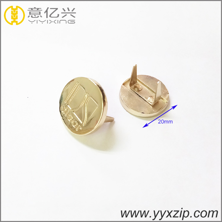 hardware accessories custom engraved logo round shaped metal labels tags for lea