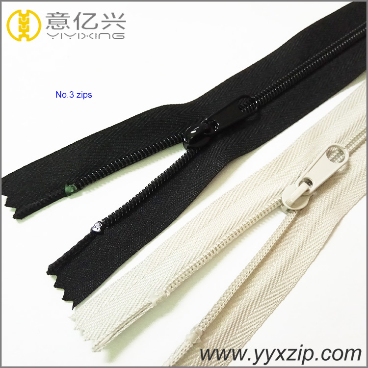 Plastic nylon zipper for pants, long chain nylon zipper for sofa made in Shenzhe