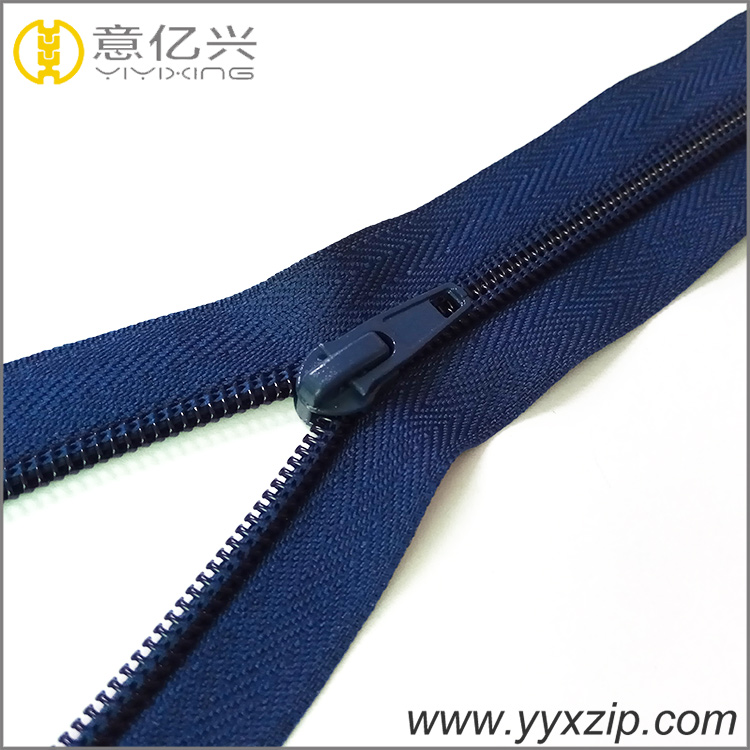 5# high welcome customization dark blue long chain nylon zipper for pants