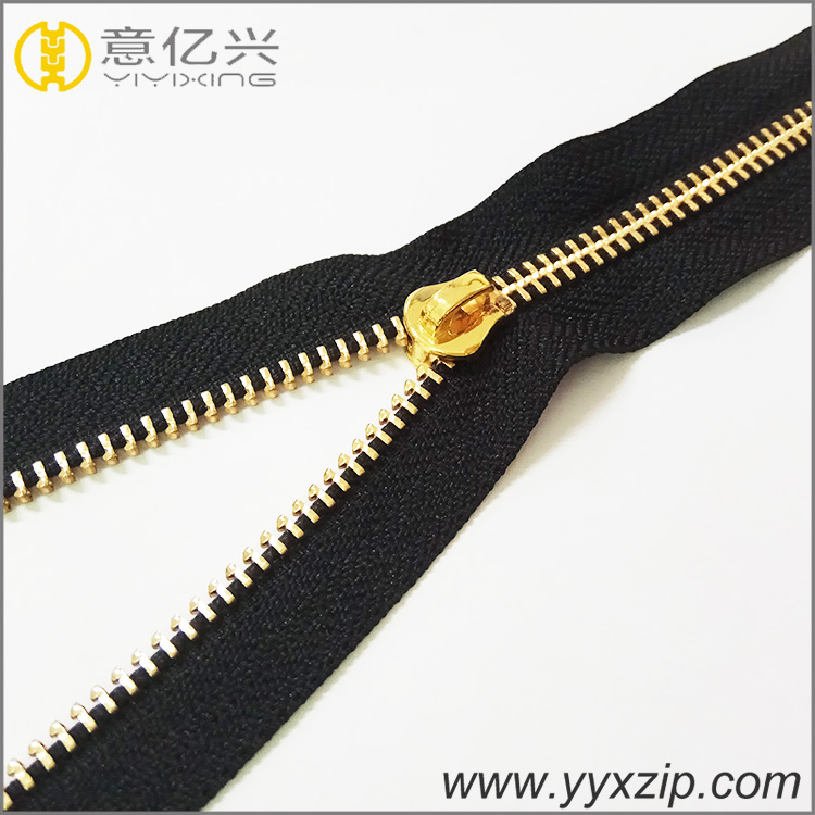 zipper factory golden #3 teeth brand highly polished for metal zipper roll