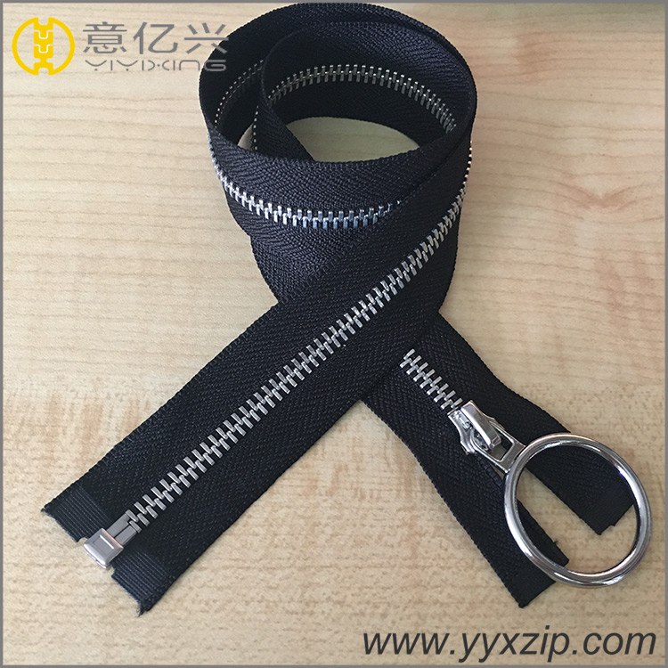 hot sale round puller metal silver teeth zipper for jacket