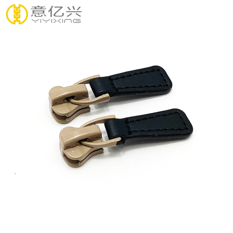 Durable Brand Logo Customized Sizes Pu Leather Zipper Slider and Puller