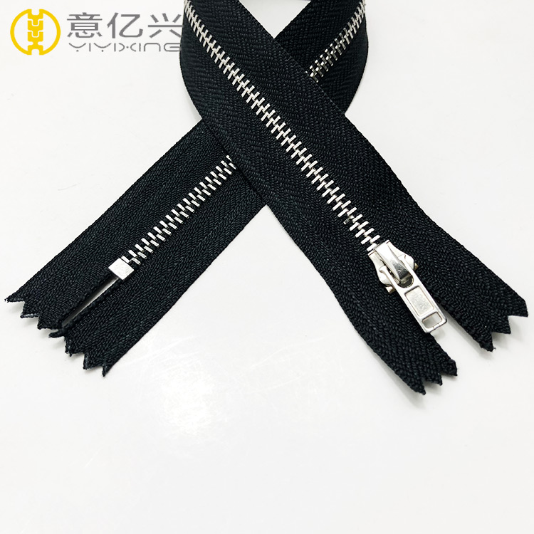High quality #5 silver metallic zipper, metal zipper for fashion dress