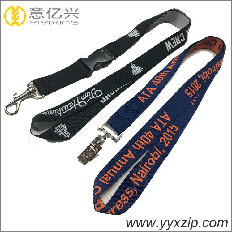 Printed hook lanyards polyester satin fabric plastic safety for sale phone holde