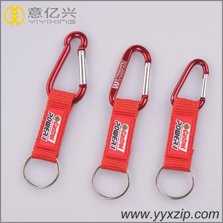 Metal keychain with carabiner keychain with custom logo short lanyard