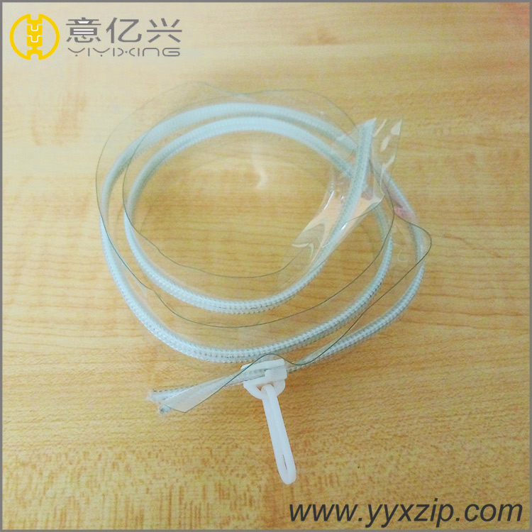 customized transparent PVC zipper with white nylon teeth