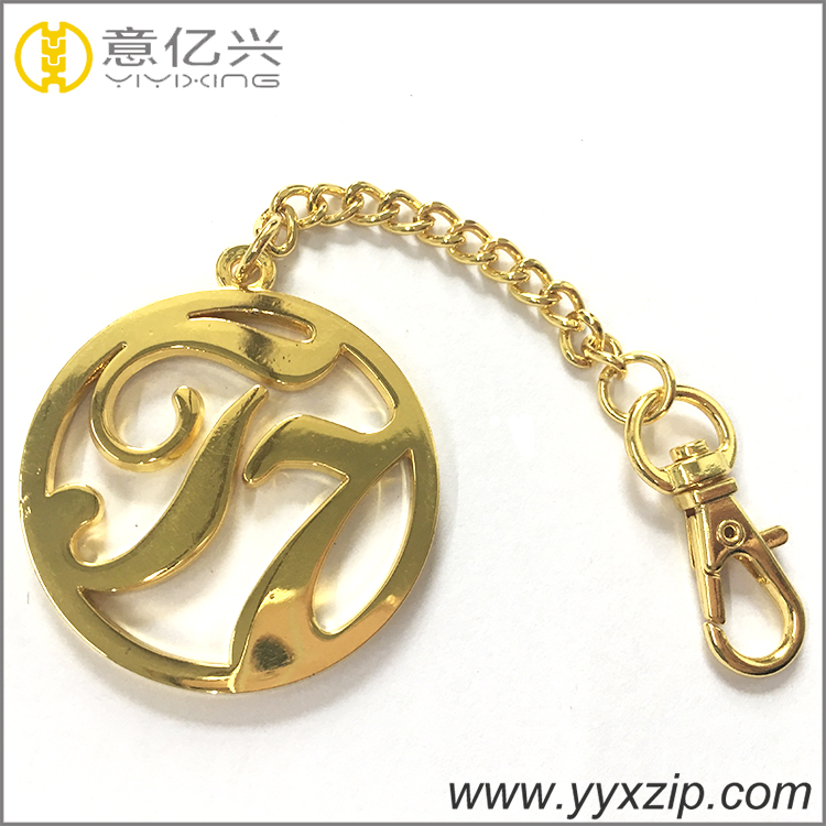 High quality shiny 24k gold metal key chain tag with hook