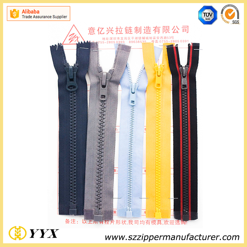 decorative fancy plastic coil zipper pulls nylon resin reverse zipper