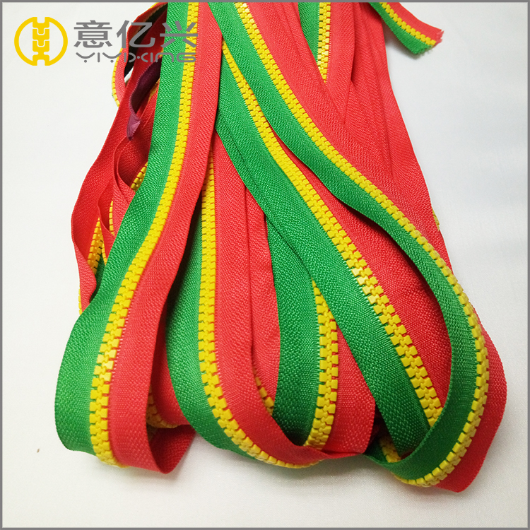 Custom size mixed teeth double color resin plastic zipper for children clothing