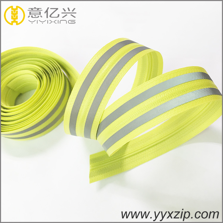 glow in the dark waterproof reflective nylon zipper for sweater