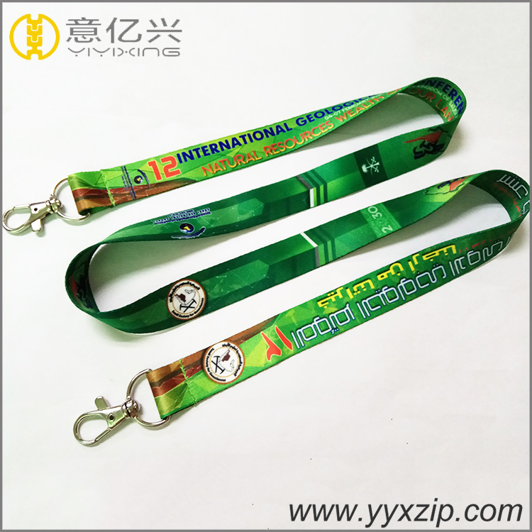full color 20mm sublimation printed design polyester lanyards with two metal hoo