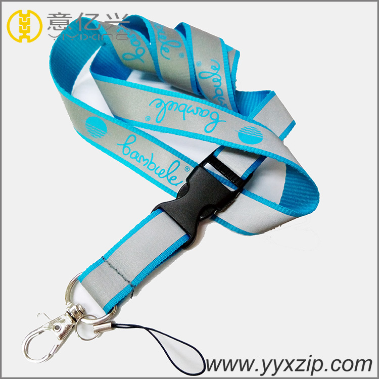 High quality with plastic buckle fashion silver reflective bar logo custom lanya
