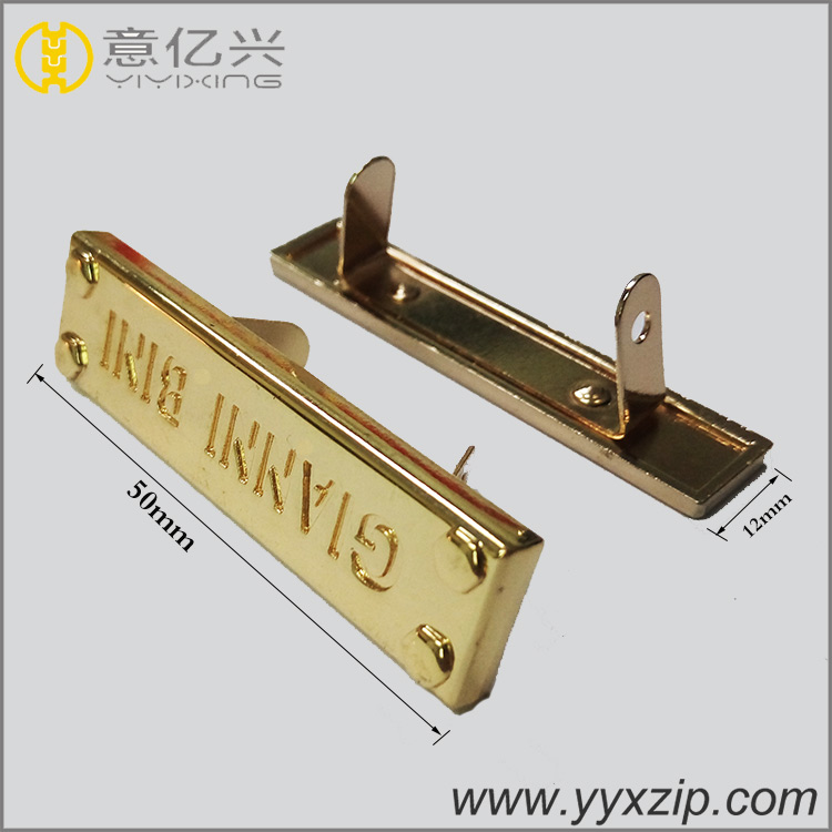 Gold color bag hardware custom engrave metal label custom metal logo for handbag