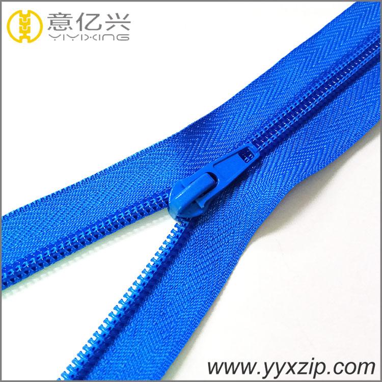 Running smoothly nylon coil zipper light blue zipper with auto lock slider