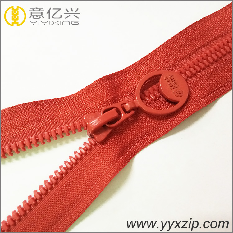 #5 fashion design plastic zipper red teeth and tape plated zipper for decorative