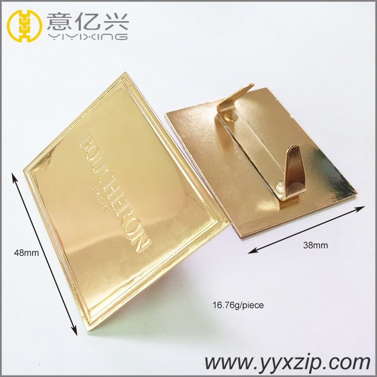 OEM Custom brand logo shiny gold plated metal logo tag