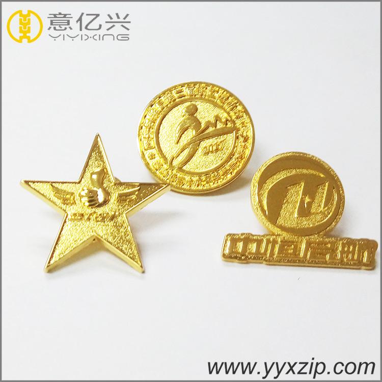 custom metal badge gold stars shaped lapel pin
