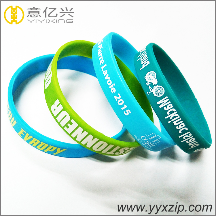 custom silk print debossed embossed rubber silicone bracelet with logo