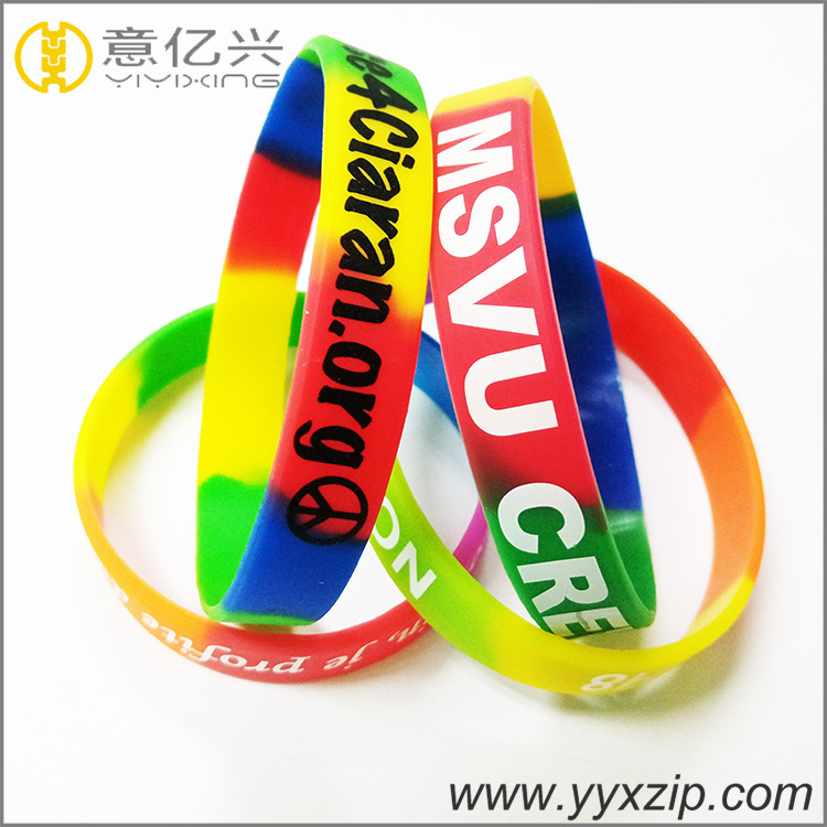 Custom adjustable funny souvenir segment color silicone wristband, silicone brac