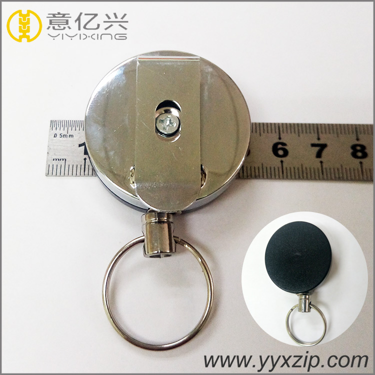 custom metal retractable pull reel for badge