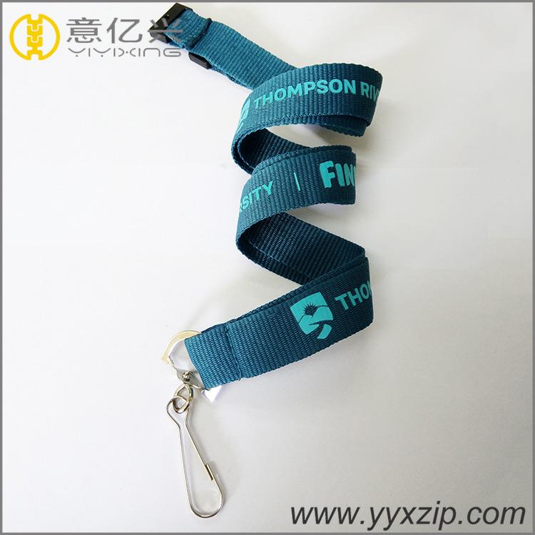 Custom sample free printed logo lanyard polyester neck metal carbine hook lanyar