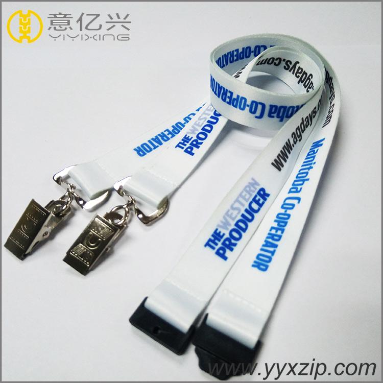 Single webbing custom metal clip hook lanyards custom logo bottom price custom v