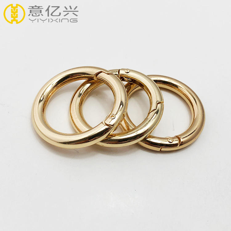 Custom polished gold stainless steel round spring gate O ring