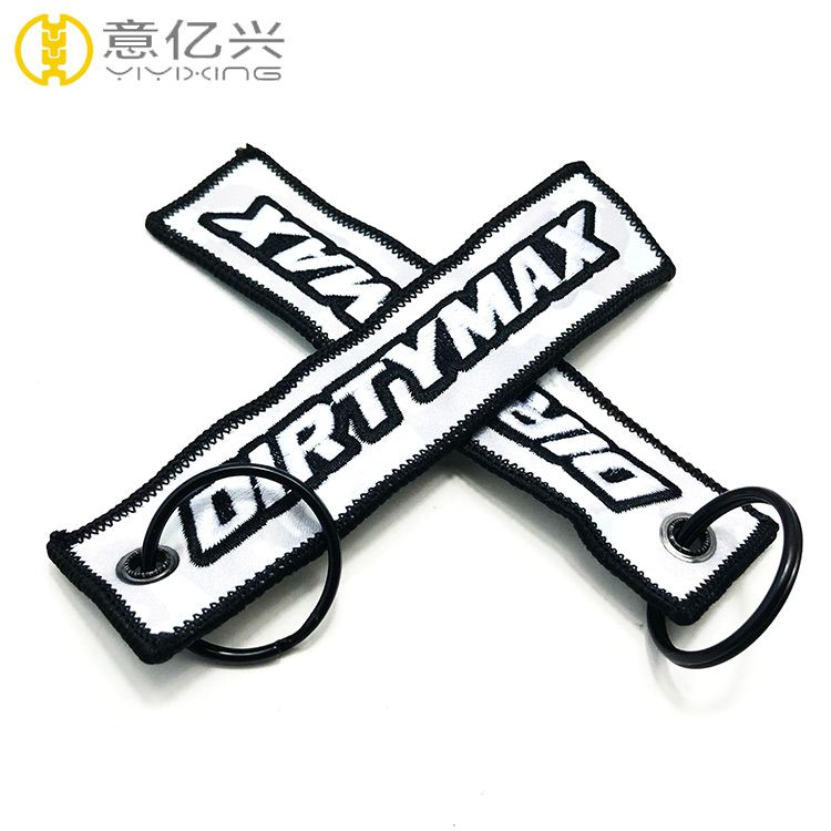 Factory custom flight embroidery keychain key tag with your own logo