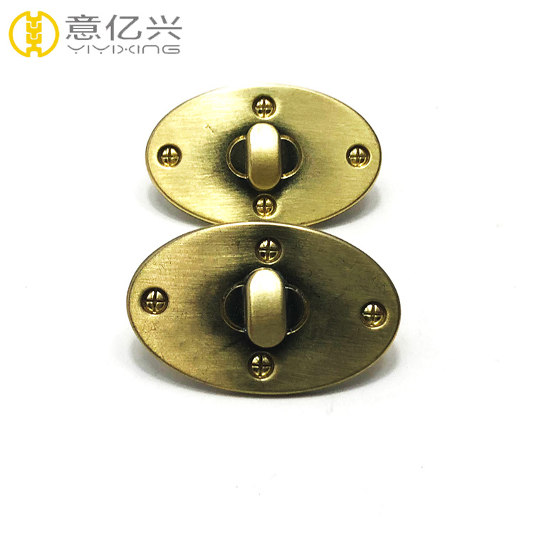 Custom Fashion Handbag Hardware Oval Metal Bag Twist Turn Lock
