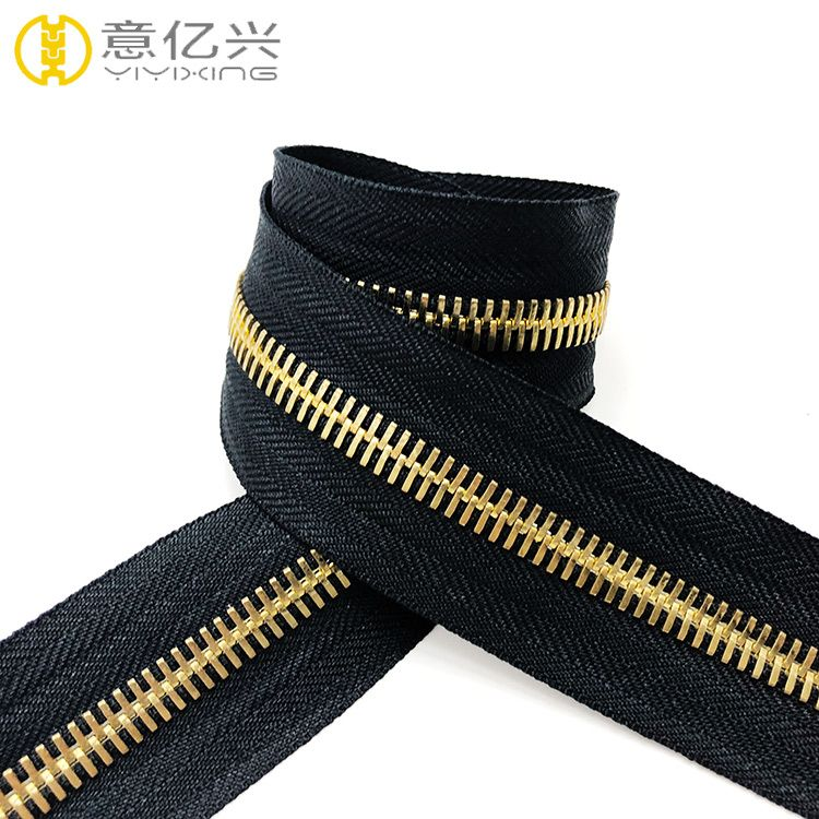 #8 Gold teeth long chain metal zippers roll