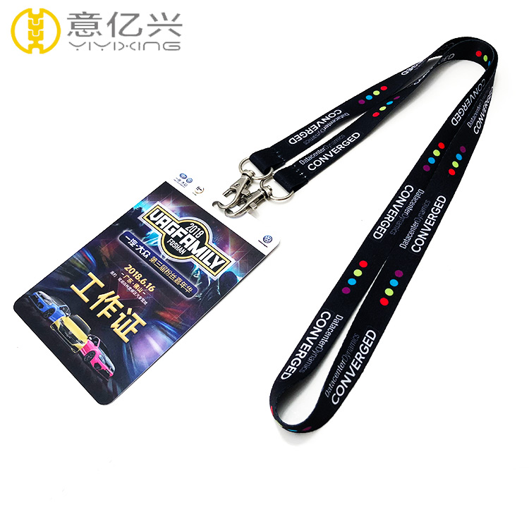promotional 2 metal hook sublimation lanyard with exhibition card