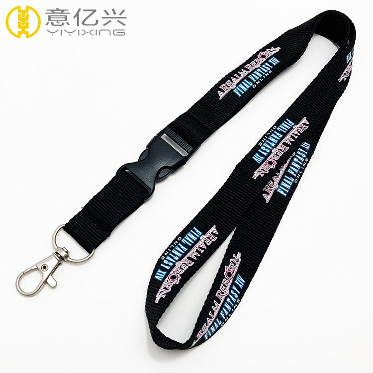 Cheap Silkscreen School Promotion Name Tag Polyester Logo Lanyard