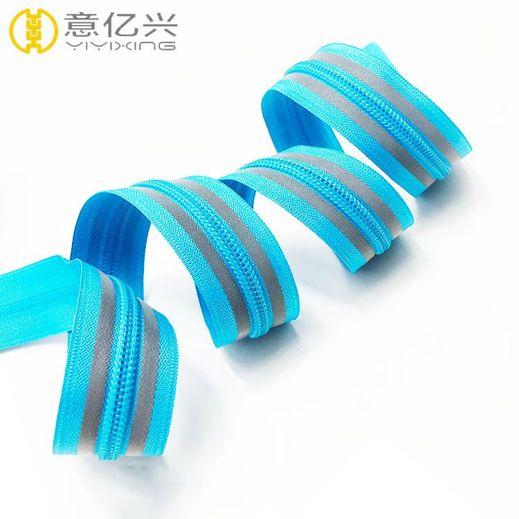 5# customized nylon teeth reflective zipper for cloth