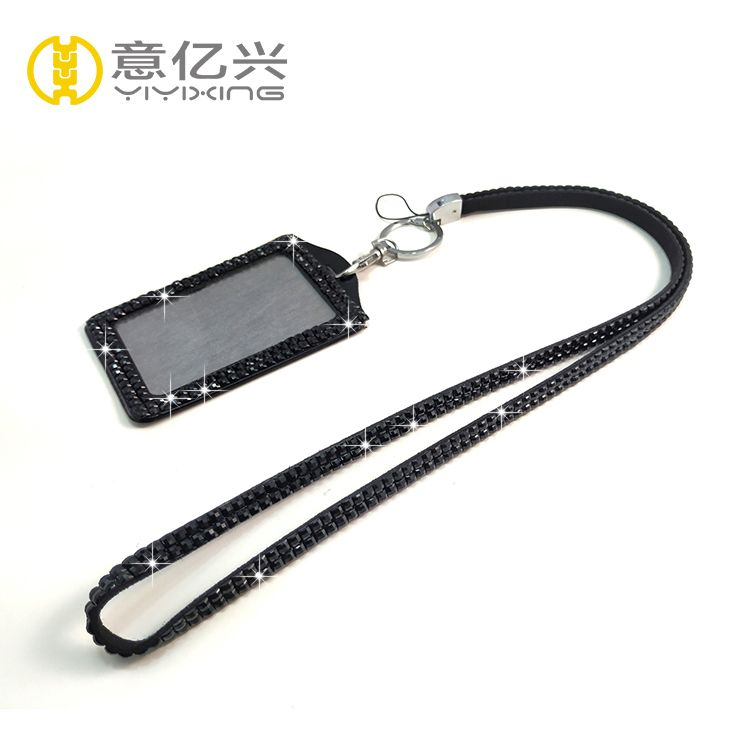 New products 2018 black sparkling rhinestone lanyard