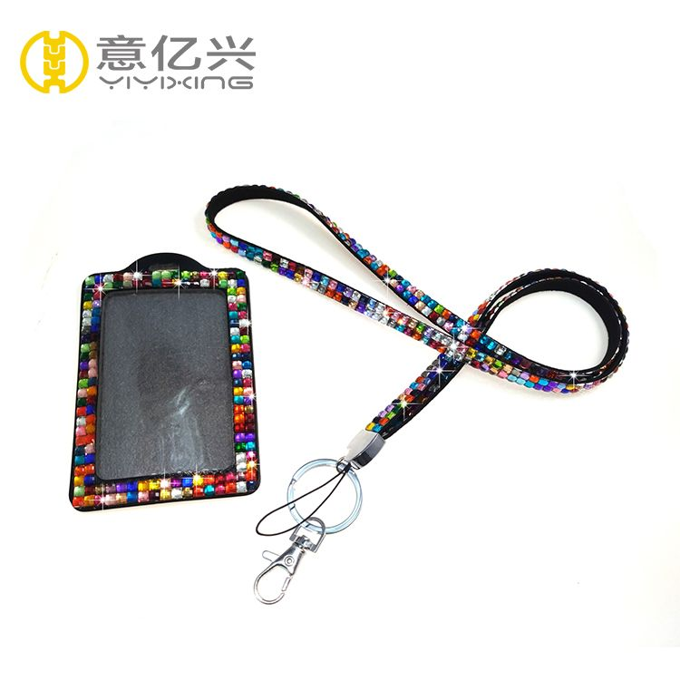 Wholesale fashion rainbow color bling bling lanyards
