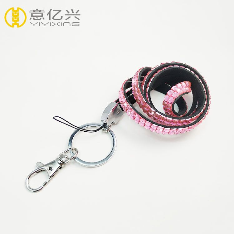 Wholesale pink rhinestone lanyard for pink bling neck lanyards