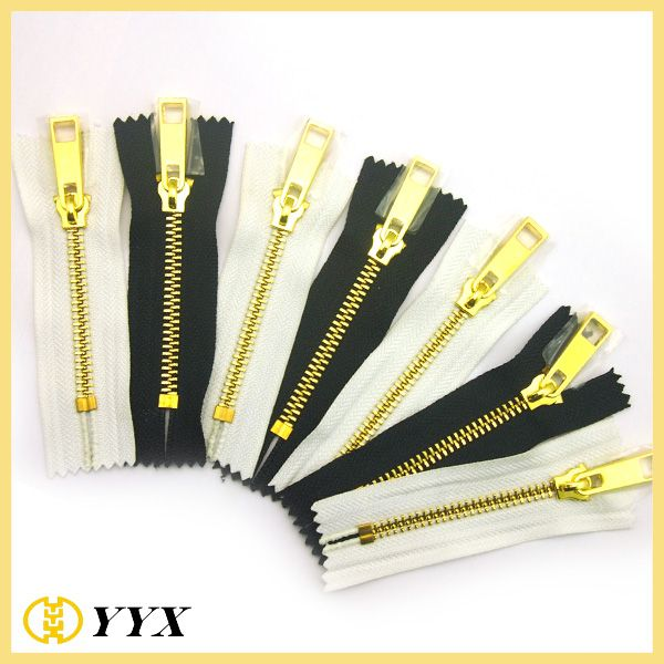 swiss teeth #8 gold zipper roll high quality teeth metal zipper