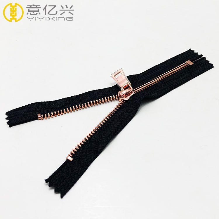 Shiny Metal Zipper Rose gold Teeth with Custom Metal Puller