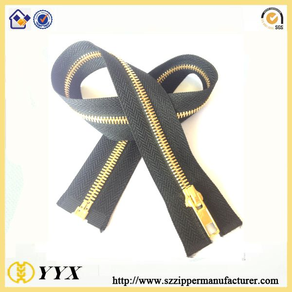 High Quality Hanged Plated Shiny Polished Y Teeth Metal Zipper