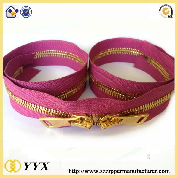Double slider zipper / elegant metal zipper for wide range of use two way zipper