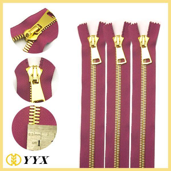 Top quality shiny gold plating Y teeth metal zipper for high heel