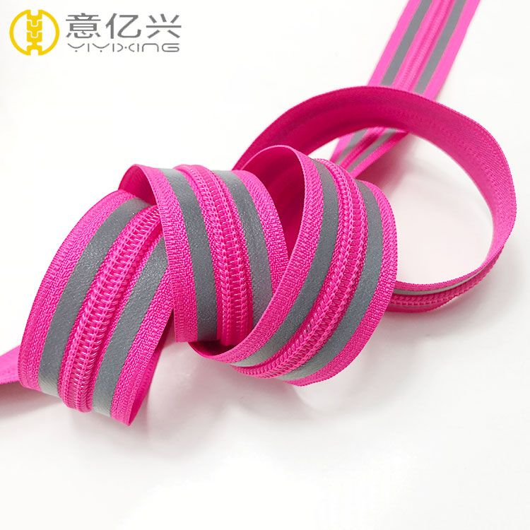 5# cheap custom nylon teeth red tape reflective zipper