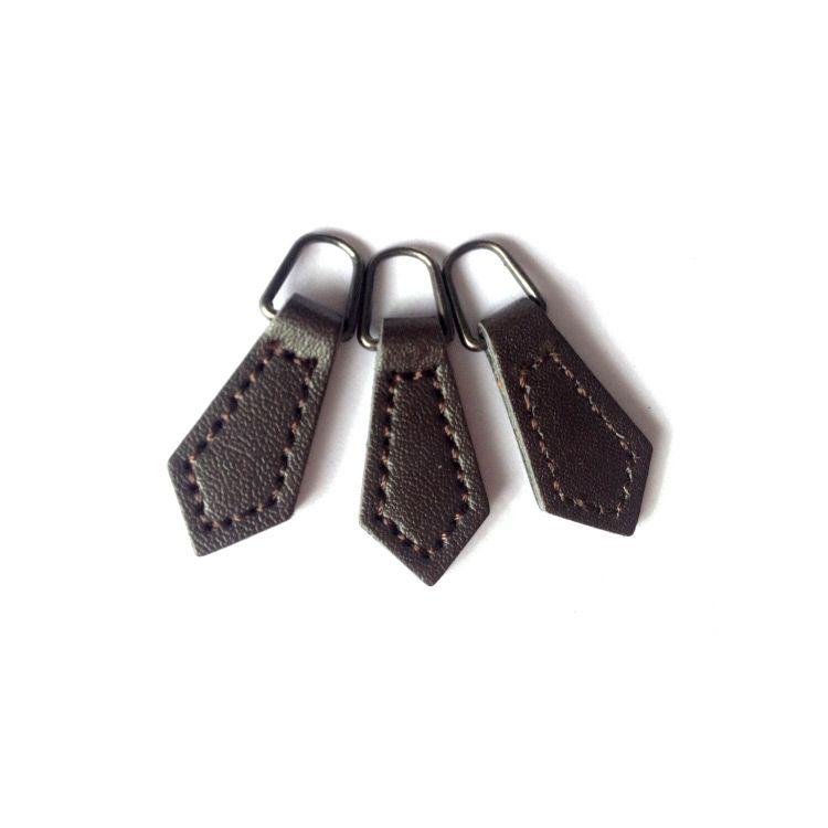 Custom Leaf Shape Leather Zip Puller Sewing Fastener Slider